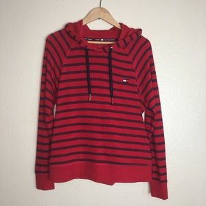 Tommy Hilfiger Red Striped Hoodie Sweater